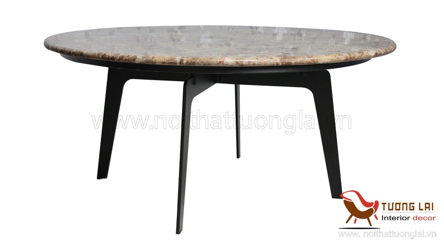 Gia công chân bàn sofa sắt la mặt đá tròn
